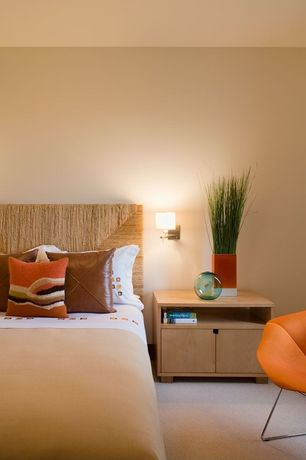 Modern Guest Bedroom with Ambiance home - hanna headboard sea grass rush constructed bed cottage beach queen, Carpet