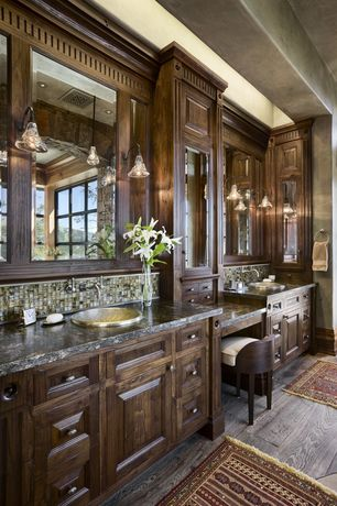 Craftsman Master Bathroom with Wall sconce, Hardwood floors, Built-in bookshelf, Crown molding, Inset cabinets, Double sink