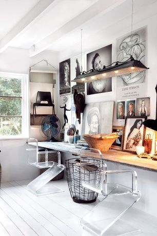 Eclectic Home Office with Lucite z chair barstool, double-hung window, Built-in bookshelf, Hardwood floors, Exposed beam