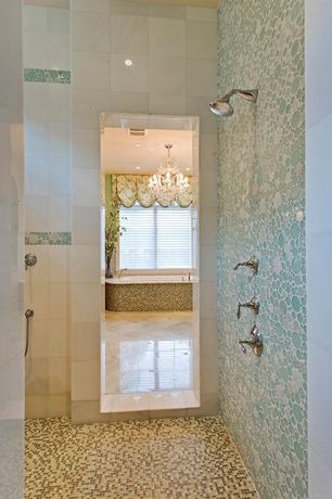 Contemporary Master Bathroom with drop in bathtub, Nova bubble moon stone bfs-401 glass mosaic tile, Chandelier, can lights