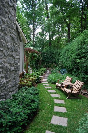 Cottage Landscape/Yard with Pathway, 12x12 concrete pavers, Highwood usa weathered acorn adirondack chair, Trellis