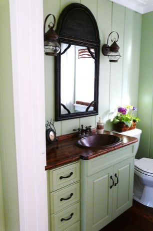 "Cottage Powder Room with Wood counters, Ronbow contempo 19"" wood vanity top - top finish: cinnamon, Hardwood floors"
