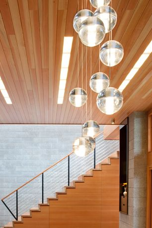 Modern Staircase with Bocci 14 Pendant Chandelier
