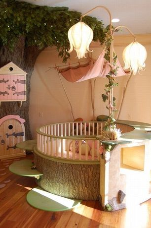 Eclectic Kids Bedroom with Fairy Land Crib, Radiance Lighting Tall Curved-Stem Faith Lamp, Crown molding, Hardwood floors