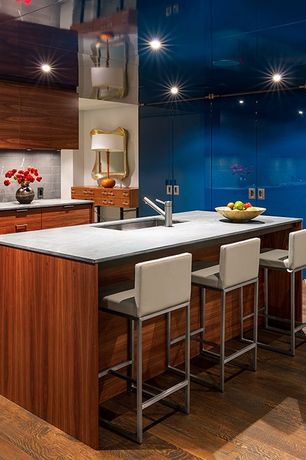 Contemporary Kitchen with Stone tile backsplash, Soapstone counters, flush light, Flush, Stone Tile, can lights, Sapele Wood