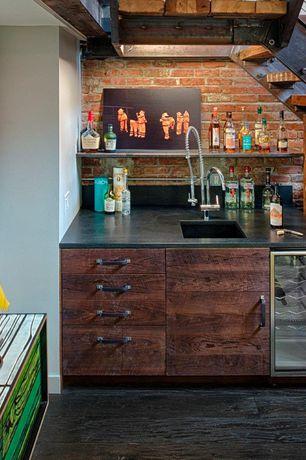 Modern Bar with interior brick, Exposed beam, Standard height, Built-in bookshelf, Hardwood floors