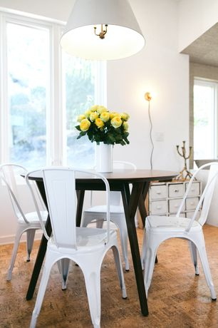 Modern Dining Room with Hardwood floors, Modus Furniture 7Z4861 Portland Round Dining Table, Pendant light, Wall sconce
