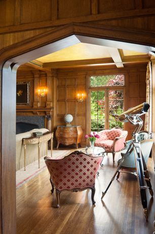 Traditional Living Room with Standard height, French doors, Wall sconce, stone fireplace, Exposed beam, Transom window