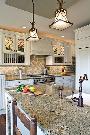 Traditional Kitchen with Glass panel, Built in plate storage, Undermount sink, Hardwood floors, Flush, Limestone Tile