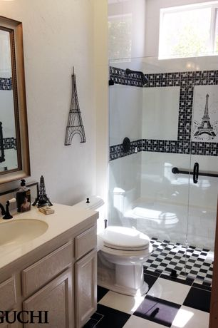 Eclectic 3/4 Bathroom with frameless showerdoor, Limestone counters, Limestone, Flat panel cabinets, Undermount sink