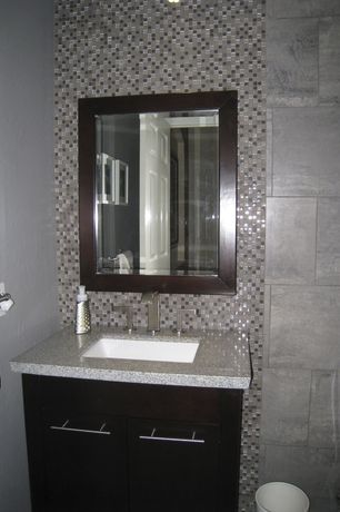 Modern Powder Room with Flush, European Cabinets, Ceramic Tile, Powder room, Simple granite counters, Undermount sink