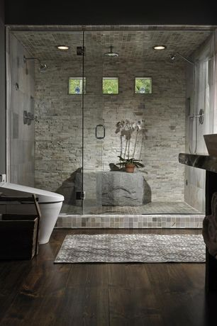 Contemporary Master Bathroom with Rain shower, Custom Frameless Inline Shower Door and Panels, Stone Tile, Hardwood floors