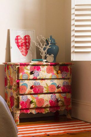 """Eclectic Guest Bedroom with 11"""" Pierced Temple Jar, Teal, White Coral Jewelry Holder"""
