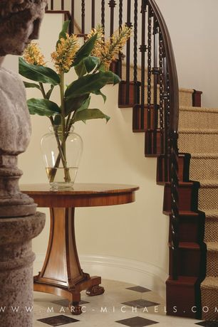 Traditional Staircase with Standard height, curved staircase, Hardwood floors