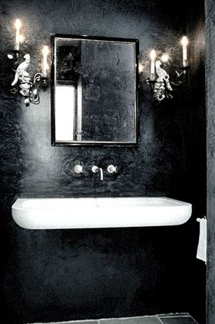 Eclectic Powder Room with Standard height, Powder room, Undermount bathroom sink, Wall sconce