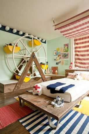Contemporary Kids Bedroom with Premier prints - dyed solid corn yellow duck fabric, Standard height, Hardwood floors, Paint