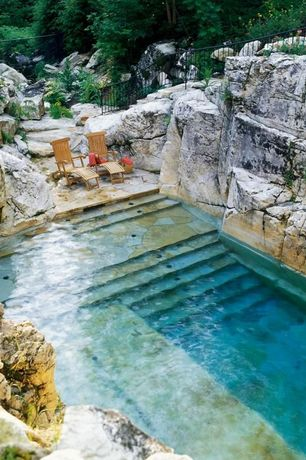 Rustic Swimming Pool with Stone stair, Arpoador eucalyptus steamer, Other Pool Type, exterior stone floors, Pathway, Fence