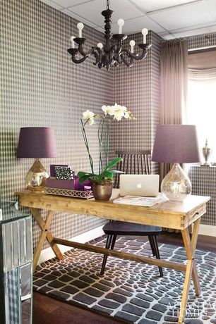 Contemporary Home Office with Hardwood floors, Chandelier, Bay window, interior wallpaper