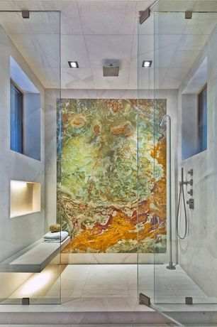 Contemporary Master Bathroom with Rohl Single Function Square Rainfall Showerhead, Mural, limestone tile floors, Rain shower