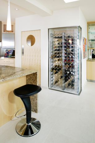 Modern Wine Cellar with Built-in bookshelf, Skylight, Standard height, Concrete floors