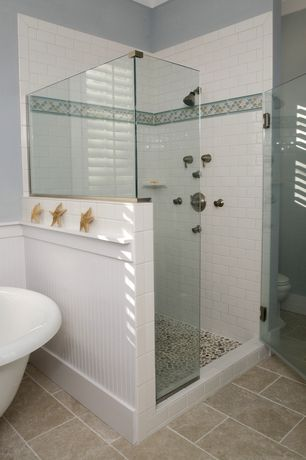 Cottage Master Bathroom with Shower jets, Wainscotting, Master bathroom, River rock mosaic tile, Freestanding