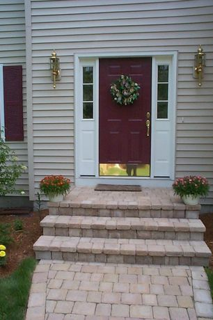Traditional Front Door with Casement, six panel door, exterior stone floors