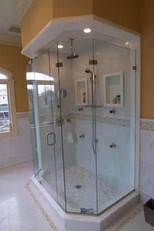 Mediterranean Master Bathroom with Paint, Shower, Crown molding, Arched window, Rain shower, frameless showerdoor, can lights