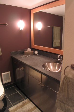 Full Bathroom with Stone Tile, Simple Granite Tile, European Cabinets, Wall sconce, Simple granite counters, Flush