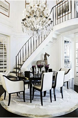 Traditional Staircase with French doors, Hardwood floors, High ceiling