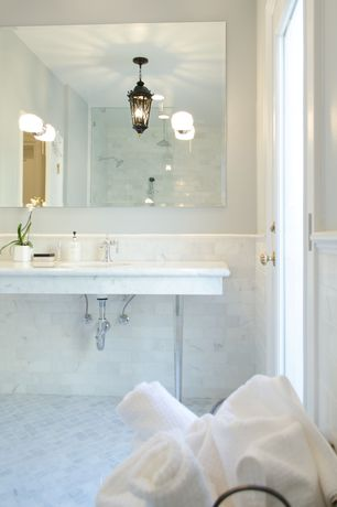 Contemporary Master Bathroom with Handheld showerhead, Master bathroom, flush light, frameless showerdoor, Wall Tiles, Shower