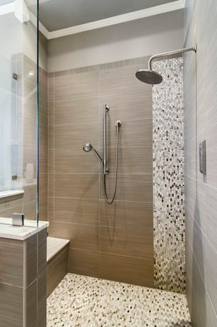 "Contemporary Master Bathroom with Crown molding, Handheld showerhead, Glazed porcelain 12"" x 24"" tile, frameless showerdoor"