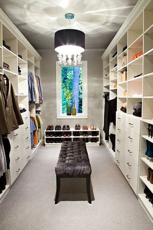 Contemporary Closet with Allen knight tufted bench, Carpet, Built-in bookshelf, Chandelier, Indoor chandelier