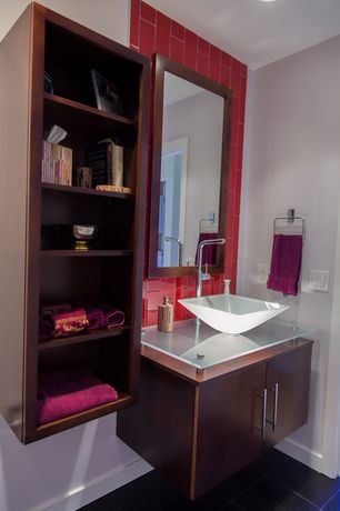 Contemporary Full Bathroom with Flush, European Cabinets, Subway Tile, Glass counters, ThinkGlass Custom Glass Vanity Top