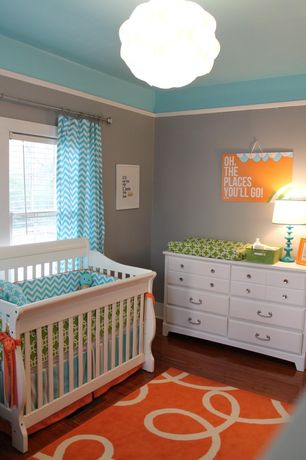 Contemporary Kids Bedroom with Dr. Seuss Wall Art - Oh The Places You'll Go, Crown molding, Chandelier, Hardwood floors