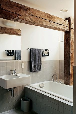 Contemporary Master Bathroom with Wall mounted sink, Master bathroom, slate floors, Duravit scola wall mount bathroom sink