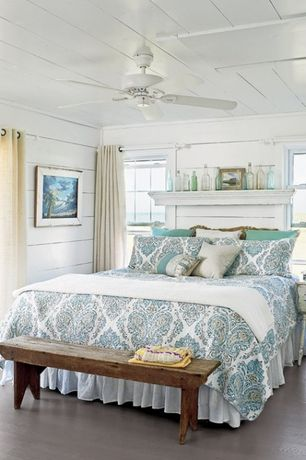 Cottage Master Bedroom with Black mountain reclaimed rustic bench, Beach, Painted wood panel ceiling, Mantel headboard, Paint