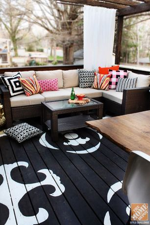 Eclectic Deck with Wrap around porch, Fence, Trellis, Deck Railing