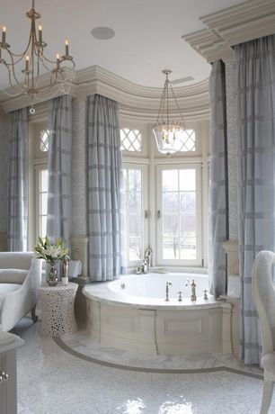 Traditional Master Bathroom with Minka Lavery Harbour Point 9 Light Chandelier, interior wallpaper, Master bathroom
