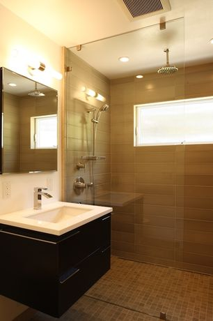 Contemporary 3/4 Bathroom with Handheld showerhead, Flush, Wall mounted sink, Corian counters, European Cabinets, Rain shower