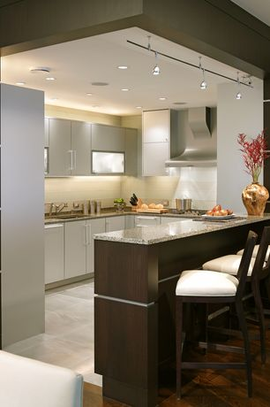 Contemporary Kitchen with flush light, Breakfast bar, Simple Granite, Flush, Undermount sink, Poggenpohl Custom Cabinetry