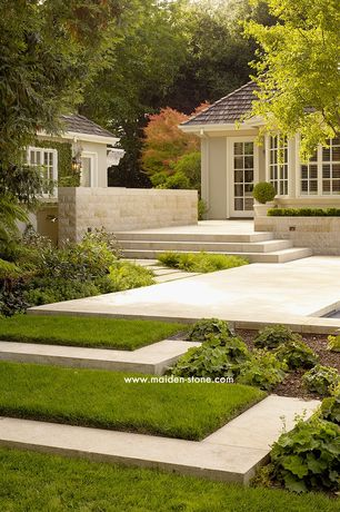 Contemporary Landscape/Yard with Pathway, Eldorado Stone Coarsed Stone - Santa Barbara, French doors, exterior tile floors