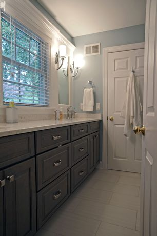 Contemporary Full Bathroom with Double sink, Wall sconce, Inset cabinets, Simple Granite, Feiss finley 1 light wall sconce