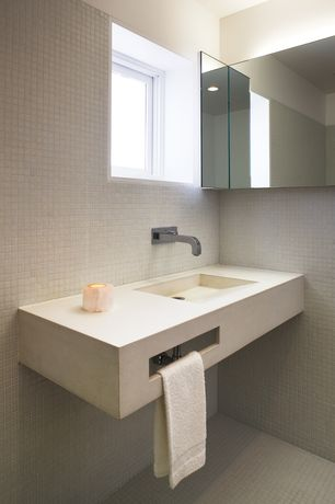Contemporary Powder Room with Jensen white universal frameless single-door corner cabinet, Undermount sink, Custom vanity