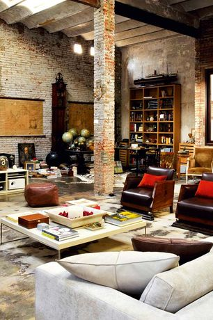 Eclectic Living Room with Allan copley designs spats coffee table, High ceiling, Lee industries hambert leather chair