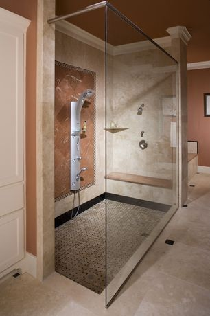 Traditional Master Bathroom with Flat panel cabinets, Inset cabinets, Marble tiles with brushed finish, Handheld showerhead