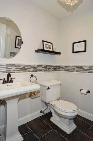 Contemporary Powder Room with Chandelier, Daltile Fabrique Noir Linen Porcelain Tile, High ceiling, specialty tile floors