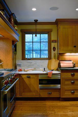 Craftsman Kitchen with Inset cabinets, Flat panel cabinets, Crown molding, Simple marble counters, Complex Marble, L-shaped
