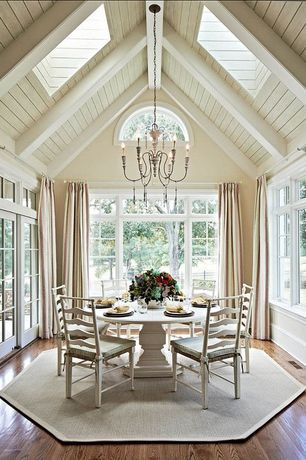 Country room with Transom window, double-hung window, Exposed beam, Chandelier, Skylight, Arched window, Hardwood floors