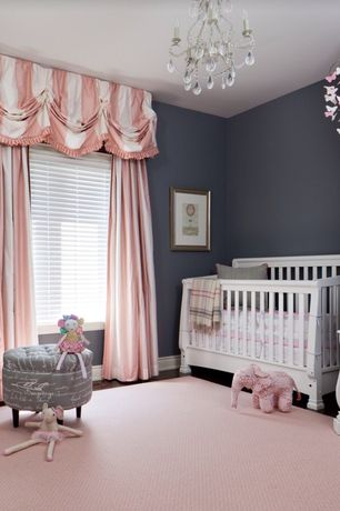 Traditional Kids Bedroom with Pottery barn kids pink paper butterfly mobile, Davinci convertible crib with toddler rail