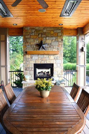 Craftsman Porch with Deck Railing, Fireplace mantle shelf, Pathway, Teak side chair, Screened porch, Natural cedar ceiling